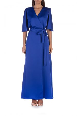 Blue-satin-wrap-dress-front-elsa-barreto