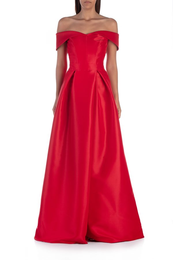 Red-shoulderless-long-dress-with-split-front-elsa-barreto