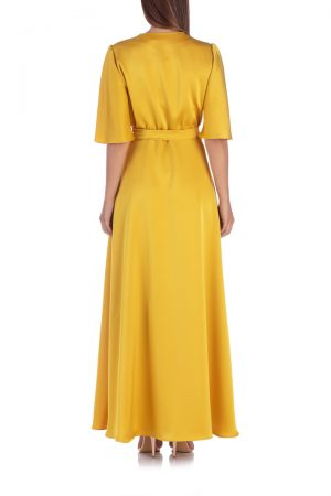 yellow-satin-wrap-dress-back-elsa-barreto