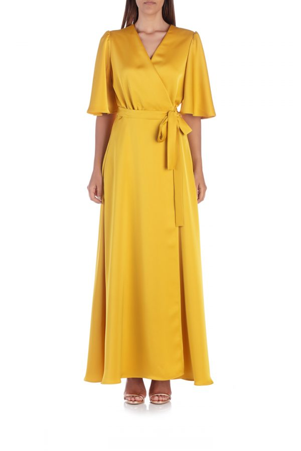yellow-satin-wrap-dress-front-elsa-barreto