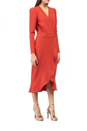 wrap-orange-dress-with-ruffle-in-the-hem-elsa-barreto